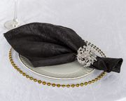 "20""x 20"" Crushed Taffeta Napkins - Black 61339(10pcs/pk)"