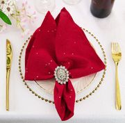 "20""x20"" Sequin Paillette Poly Flax / Burlap Polyester Napkins (10 Colors)"