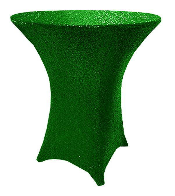 """30"""" Cocktail Sequin Spandex Table Cover - Emerald Green 00738 (1pc/pk)"""