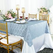 "54""x 108"" Rectangular Lace Table Overlay Topper - Dusty Blue 90903(1pc/pk)"