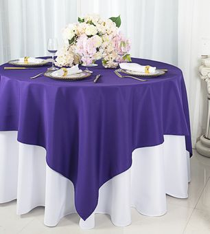 54 x 54 (200 GSM) Square Polyester Tablecloths / Table Overlay Toppers (26 Colors)