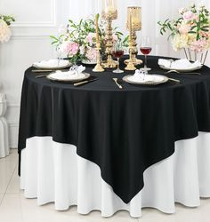 "54""x 54"" Seamless Square Scuba (Wrinkle-Free) Tablecloth / Table Overlay - Black 20039 (1pc/pk)"