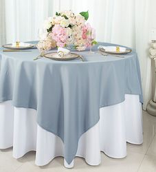 """54""""x 54"""" Square Polyester Table Overlay Toppers - Dusty Blue 51403 (1pc/pk)"""