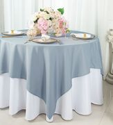 "54""x 54"" Square Polyester Table Overlay Toppers - Dusty Blue 51403 (1pc/pk)"