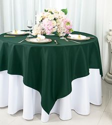 "54""x 54"" Square Polyester Table Overlay Toppers - Hunter Green / Holly Green 51419 (1pc/pk)"