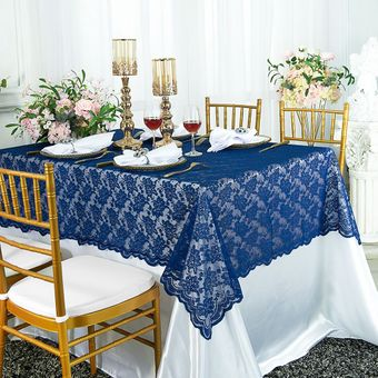"""54""""x108"""" Rectangular Lace Table Overlays (24 Colors)"""