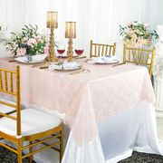 "54""x 108"" Rectangular Lace Table Overlay Topper - Blush Pink 90915 (1pc/pk)"