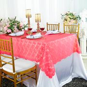 "54""x 108"" Rectangular Lace Table Overlay Topper- Coral 90906(1pc/pk)"