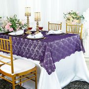 "54""x 108"" Rectangular Lace Table Overlay Topper - Eggplant 90945(1pc/pk)"