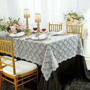 """54""""x 108"""" Rectangular Lace Table Overlay Topper - Ivory 90902(1pc/pk)"""