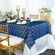 "54""x 108"" Rectangular  Lace Table Overlay Topper - Navy Blue 90923 (1pc/pk)"