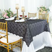 "54""x 108"" Rectangular Lace Table Overlay Topper - Pewter/ Charcoal 90960 (1pc/pk)"