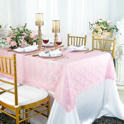 """54""""x 108"""" Rectangular Lace Table Overlay Topper - Pink 90905 (1pc/pk)"""