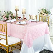 "54""x 108"" Rectangular Lace Table Overlay Topper - Pink 90905 (1pc/pk)"