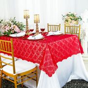"54""x 108"" Rectangular Lace Table Overlay Topper - Red 90912 (1pc/pk)"