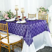 "54""x 108"" Rectangular Lace Table Overlay Topper - Regency Purple 90963 (1pc/pk)"