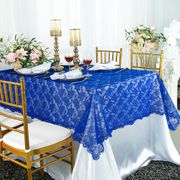 "54""x 108"" Rectangular Lace Table Overlay Topper - Royal Blue 90922 (1pc/pk)"