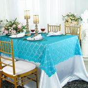 54x108 Rectangular Lace Table Overlay Topper - Turquoise 90985(1pc/pk)