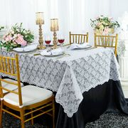 "54""x 108"" Rectangular Lace Table Overlay Topper - White 90901 (1pc/pk)"