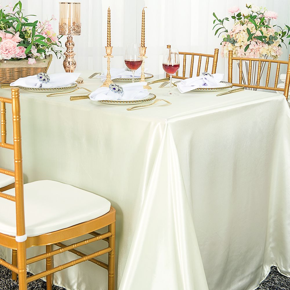 Ivory Medium Satin Fabric 58 inches width 50 Yards For Wedding Decorations and Tablecloth