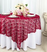 54x54 Square Lace Table Overlay - Apple Red 91308 (1pc/pk)