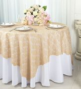 54x54 Square Lace Table Overlay - Champagne 91328 (1pc/pk)