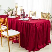 6' Rectangular Fitted Crushed Taffeta Ruffled Tablecloth With Skirt (30 Colors)