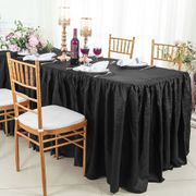 6' Rectangular Ruffled Fitted Crushed Taffeta Tablecloth With Skirt - Black 63439 (1pc/pk)