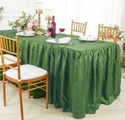 6' Rectangular Ruffled Fitted Crushed Taffeta Tablecloth With Skirt - Clover Green 63448 (1pc/pk)