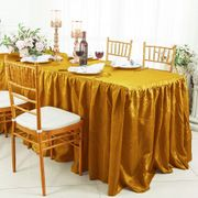 6' Rectangular Ruffled Fitted Crushed Taffeta Tablecloth With Skirt - Gold 63427 (1pc/pk)