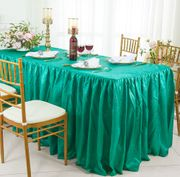 6' Rectangular Ruffled Fitted Crushed Taffeta Tablecloth With Skirt - Jade 63426 (1pc/pk)