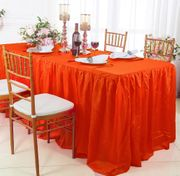 6' Rectangular Ruffled Fitted Crushed Taffeta Tablecloth With Skirt - Orange 63433 (1pc/pk)