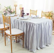 6' Rectangular Ruffled Fitted Crushed Taffeta Tablecloth With Skirt - Platinum 63450 (1pc/pk)