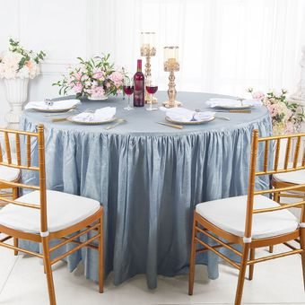 """60"""" Round Fitted Crushed Taffeta Ruffled Tablecloth With Skirt (30 Colors)"""