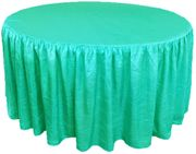 60? Round Ruffled Fitted Crush Taffeta Tablecloth With Skirt - Tiff Blue / Aqua Blue 63618 (1pc/pk)