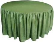 "60"" Round Ruffled Fitted Crush Taffeta Tablecloth With Skirt - Clover Green 63648 (1pc/pk)"