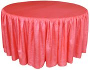 "60"" Round Ruffled Fitted Crush Taffeta Tablecloth With Skirt - Coral 63606 (1pc/pk)"