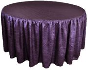 "60"" Round Ruffled Fitted Crush Taffeta Tablecloth With Skirt - Eggplant 63645 (1pc/pk)"