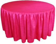 "60"" Round Ruffled Fitted Crush Taffeta Tablecloth With Skirt - Fuchsia 63609 (1pc/pk)"