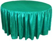 "60"" Round Ruffled Fitted Crush Taffeta Tablecloth With Skirt - Jade 63626 (1pc/pk)"