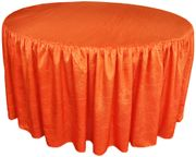 "60"" Round Ruffled Fitted Crush Taffeta Tablecloth With Skirt - Orange 63633 (1pc/pk)"