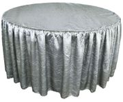 "60"" Round Ruffled Fitted Crush Taffeta Tablecloth With Skirt - Silver 63640 (1pc/pk)"