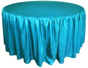 "60"" Round Ruffled Fitted Crush Taffeta Tablecloth With Skirt - Turquoise 63685 (1pc/pk)"