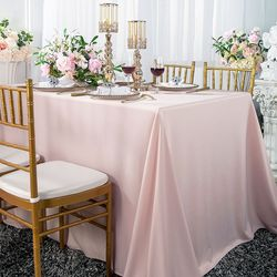 "60""x 120"" Seamless Rectangular Scuba (Wrinkle-Free) Tablecloth - Blush Pink 21015 (1pc/pk)"