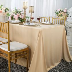 "60""x 120"" Seamless Rectangular Scuba (Wrinkle-Free) Tablecloth - Champagne 21028 (1pc/pk)"