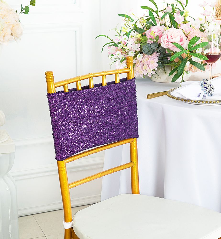 Phenomenal Eggplant Sequin Spandex Stretch Chair Bands Sashes Machost Co Dining Chair Design Ideas Machostcouk