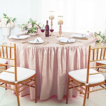 """72"""" Round Fitted Crushed Taffeta Ruffled Tablecloth With Skirt (30 Colors)"""