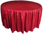 "72"" Round Ruffled Fitted Crushed Taffeta Tablecloth With Skirt - Apple Red 63708 (1pc/pk)"