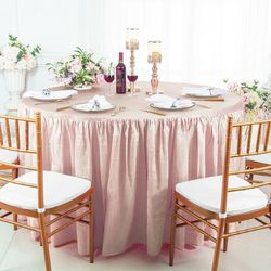 """72"""" Round Ruffled Fitted Crushed Taffeta Tablecloth With Skirt - Blush Pink 63715 (1pc/pk)"""