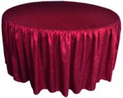 "72"" Round Ruffled Fitted Crushed Taffeta Tablecloth With Skirt - Burgundy 63710 (1pc/pk)"